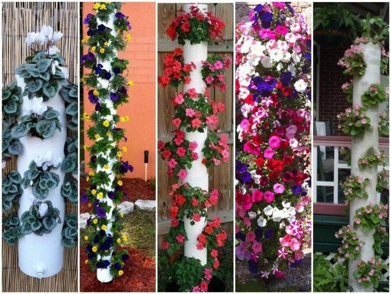 Вертикальная грядка для цветов